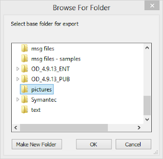 Select the base folder for MessageExport to save email attachments to.