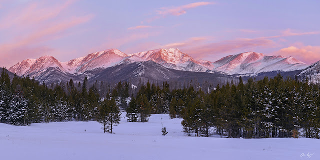 Sunrise on the Mummy Range in Rocky Mountain National Park near Estes Park Colorado