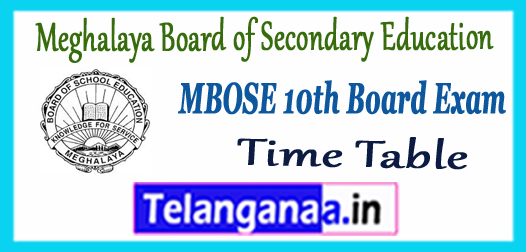 MBOSE Meghalaya Board of Secondary Education 10th Time Table 2018