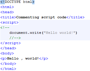 HTML Commenting Script Code