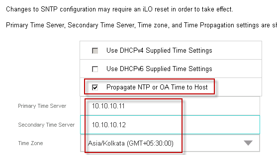 How to set date and time in iLO3 / iLO4 using SNTP and RIBCL scripts from Onboard Administrator in HP Proliant Blades
