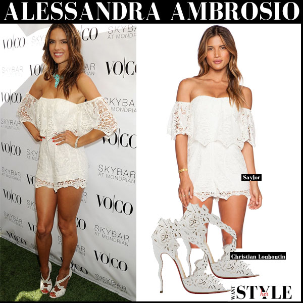 ef6b006bebf Alessandra Ambrosio in white off shoulder lace Saylor romper and white  sandals Christian Louboutin Decoupadiva september