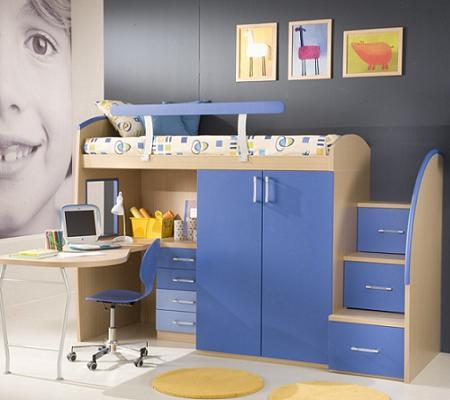 Dormitorio con mesa de estudio for Mueble guarda juguetes