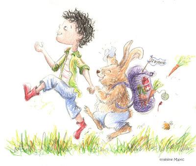 Cooper, crayons couleur, lapin