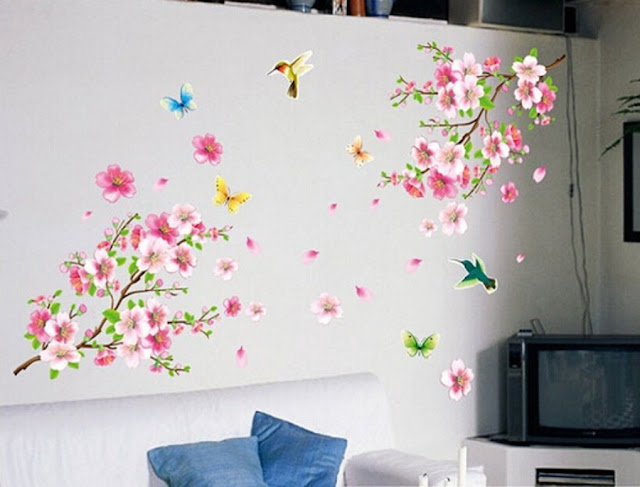 Large Cherry Blossom Bird Flower Butterfly Tree Wall Stickers