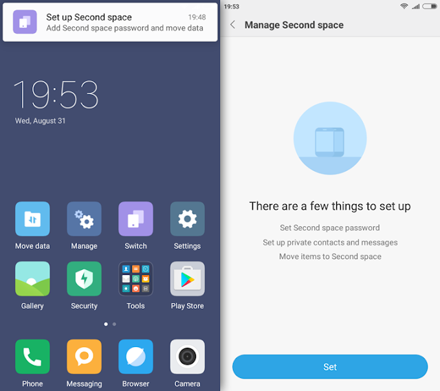 MIUI-8 Yureka Second-Space