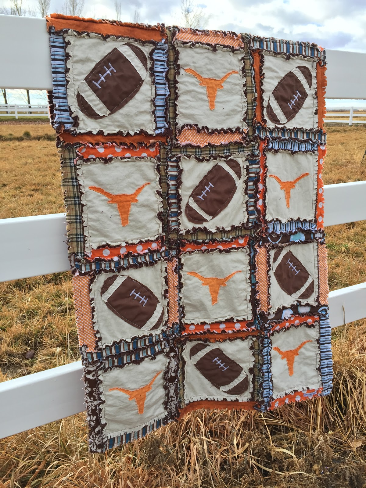 Football Rag Quilt with Longhorn Silhouette Applique toddler quilt