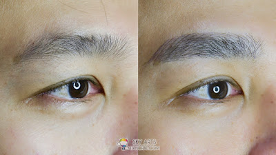 Immediate result after first Korean Eyebrow Embroidery for men with Ivy Brow Design (right eye)