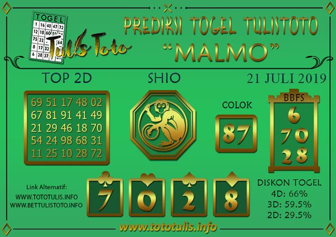 Prediksi Togel MALMO TULISTOTO 21 JULI 2019