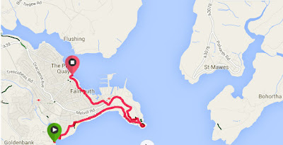 Swanpool to Falmouth Town map