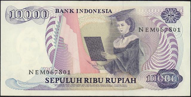 Indonesia Currency 10000 Rupiah banknote 1985 Female university graduate or Woman scholar