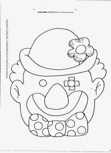 Máscaras de Payasos para Colorear, para Imprimir Gratis.   Ideas y ...