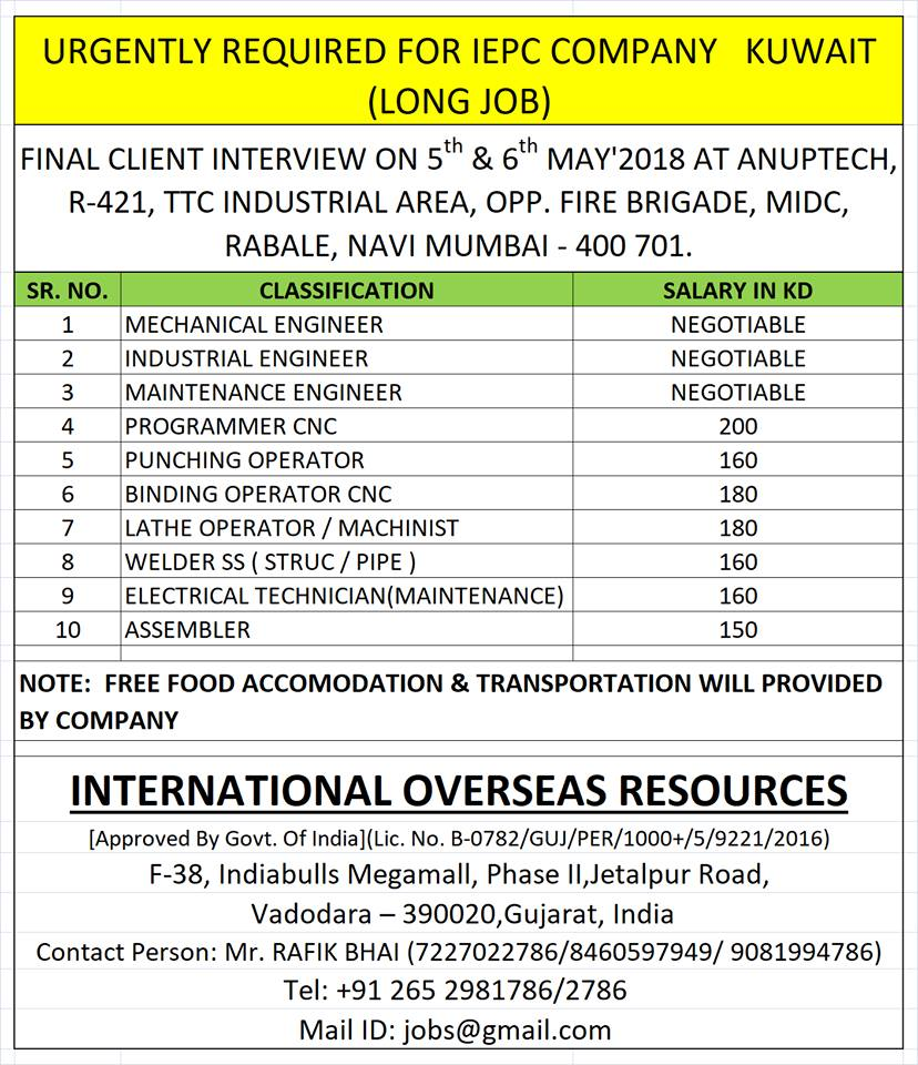 APPLY NOW// KUWAIT/ URGENTLY REQUIRED FOR IEPC COMPANY