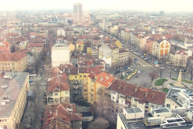 Sofia city, view from the hotel room