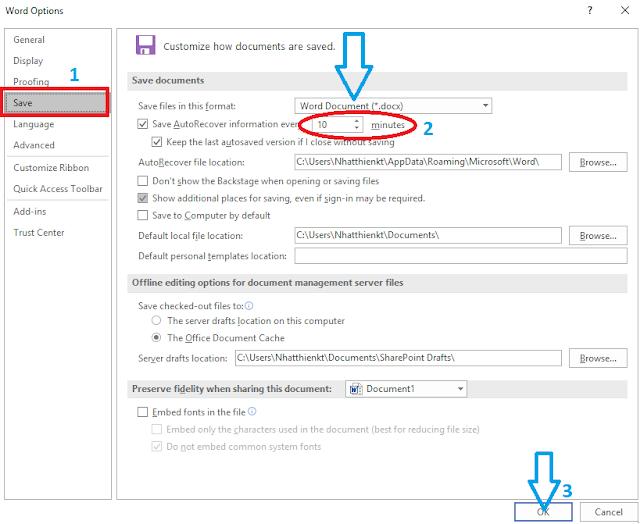 Thay đổi thời gian tự động lưu (Auto Save) trên Word, Excel, PowerPoint update 2017