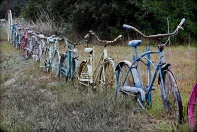Kalau di atas adalah contoh sepeda jadi pintu gerbang, kalau yang ini adalah ide memanfaatkan sepeda bekas jadi pagar. Memang perlu banyak sepeda bekas untuk membuat pagar seperti ini.