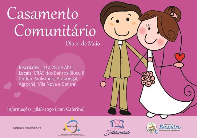 Prefeitura de Registro-SP recebe inscrições para Casamento Comunitário