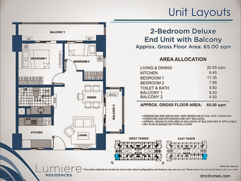 Lumiere Residences 2 Bedroom Deluxe 65.00 sqm