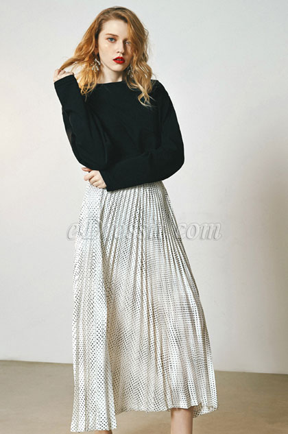 Wave Point Accordion Skirt Day Wear