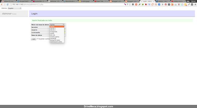 DriveMeca instalando Adminer en un Linux Centos 7 paso a paso