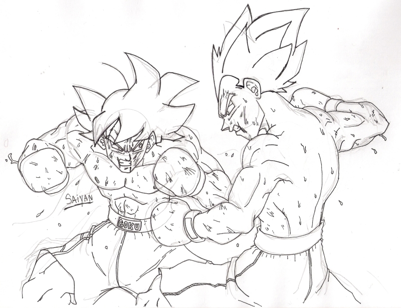 Gogeta Para Colorear: Goku Vs Broly Para Colorear