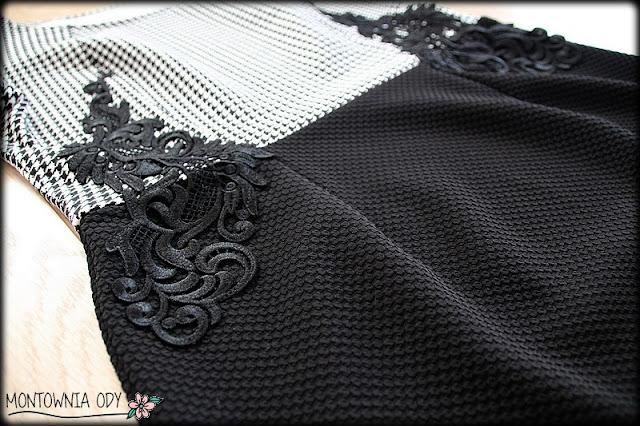 Sukienka biało-czarna z gipiurą