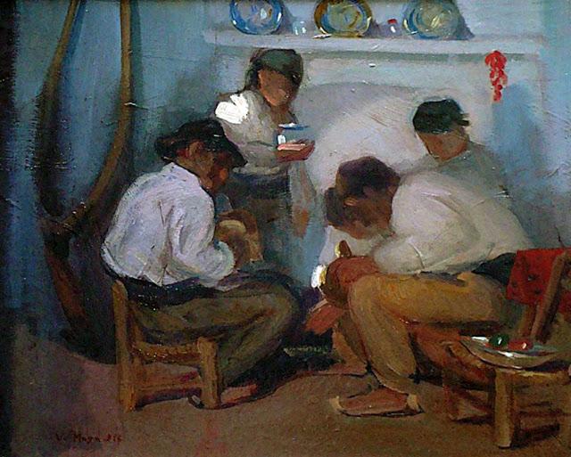 A la lumbre, Victor Moya Calvo, Pintor español, Pintores Valencianos, Retratos de Victor Moya Calvo, Pintores españoles
