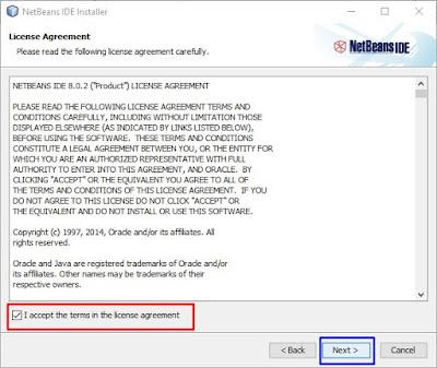 persetujuan instalasi netbeans di laptop dengan mengikuti peraturan yang ada dari netbeans develop
