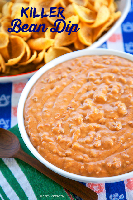 Killer Bean Dip - only 5 ingredients! Refried beans, hamburger, taco seasoning, salsa and Velveeta. Can make on the stove or in the slow cooker. This stuff is CRAZY good! Great for tailgating!! I could make a meal out of this dip. Great Mexican dip!!