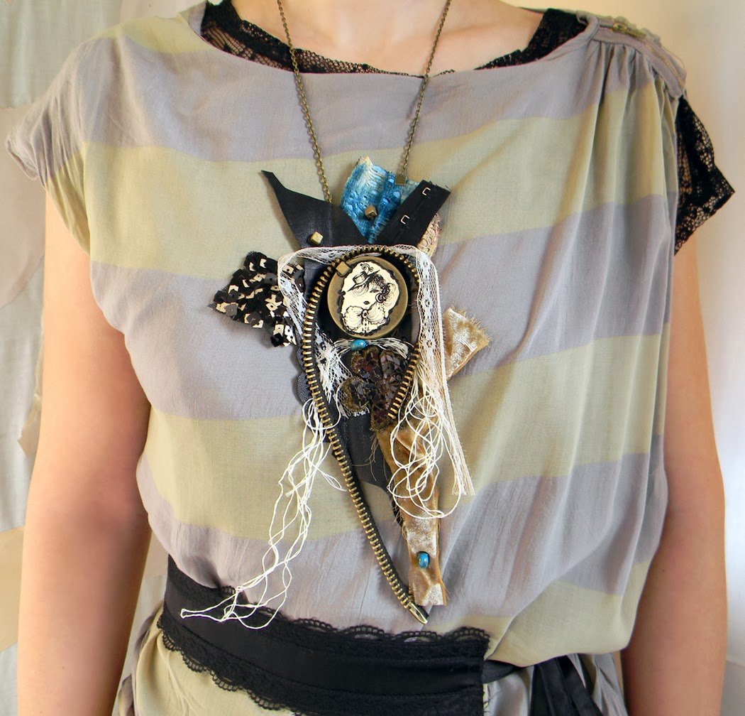 Unique Necklace Bib, Leather Neck Piece with Textile Lace Applique and Original Drawing, Vintage Modern Twist Jewlery