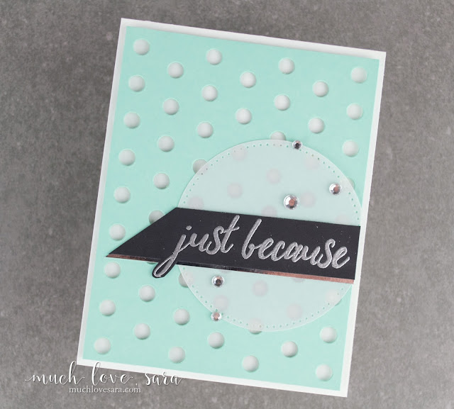 This simple handmade card, features the Fun Stampers Journey Lots of Dots Background Die, along with the Everyday Script Stamp Set.