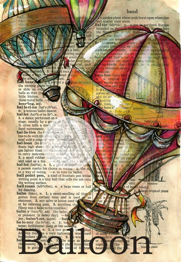 09-Hot-Air-Balloon-Kristy-Patterson-Flying-Shoes-Art-Studio-Dictionary-Drawings-www-designstack-co
