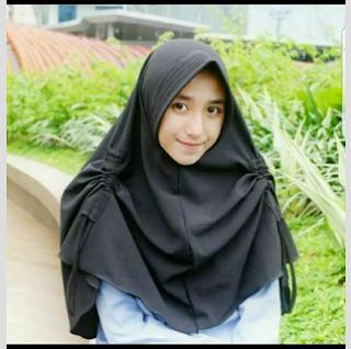 Jilbab Khimar Pet Serut warna Hitam