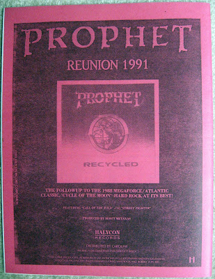 Prophet back cover ad for 1991 Recycled album from RIFF RAFF magazine