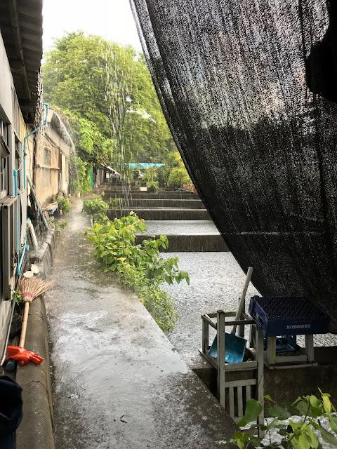 Bangkok, Nhong Rim Klong, rain