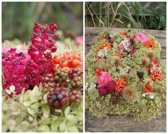 Blütentablett mit Hortensien Brombeeren Hagebutten Rosen