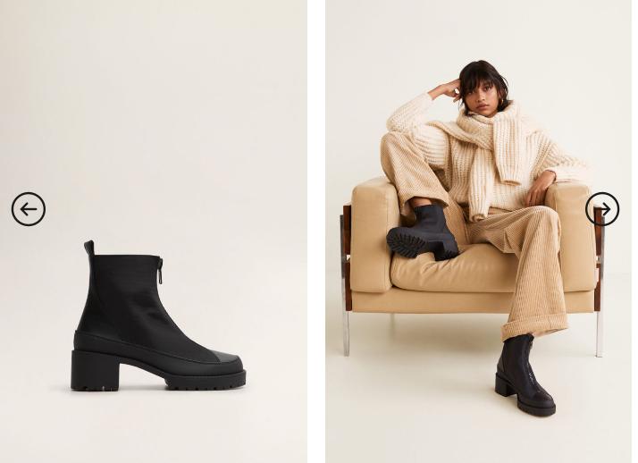Botine Mango negre de fete de iarna la moda de firma ieftina 2019