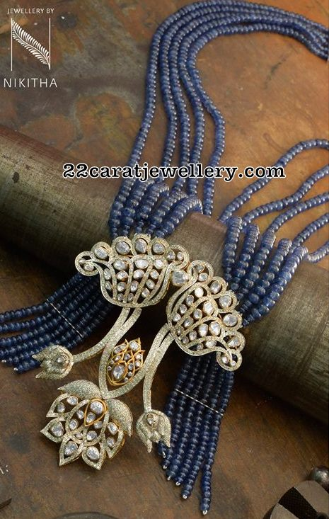 Blue Sapphire Beads Set with Diamond Locket