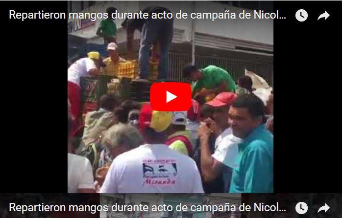 Repartieron mangos durante acto de campaña de Nicolás Maduro