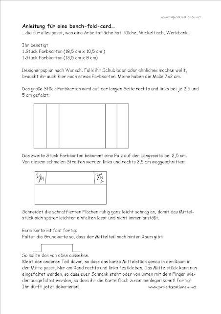 Anleitung bench-fold card / Wickelkommode
