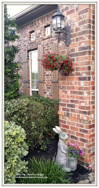 Curb Appeal-Hanging Flowers-Bunny Flower Pot-Porch-Front Porch-From My Front Porch To Yours