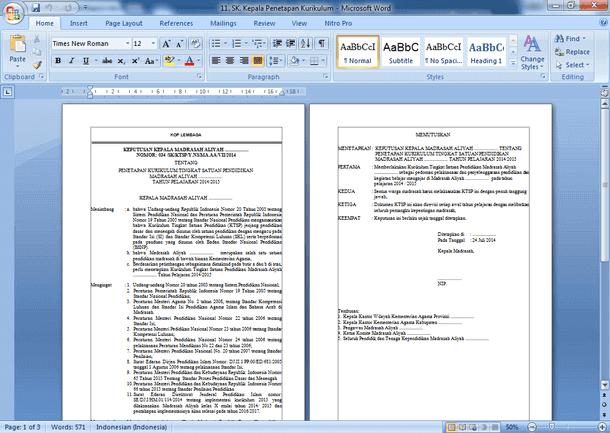 File Pendidikan Contoh Sk Kepala Sekolah Ihwal Penetapan Kurikulum Format Word