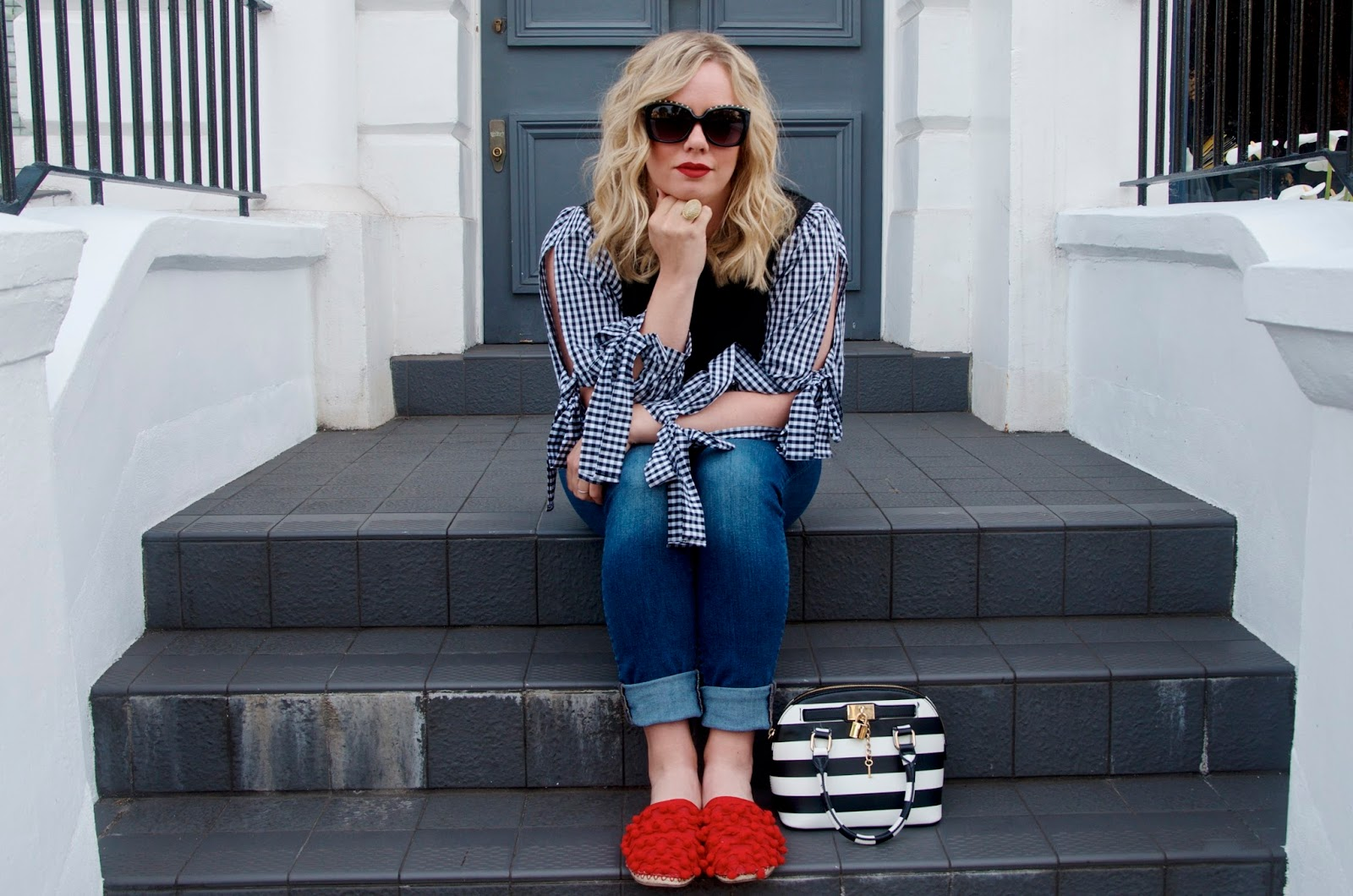 Gingham top, striped bag and red shoes