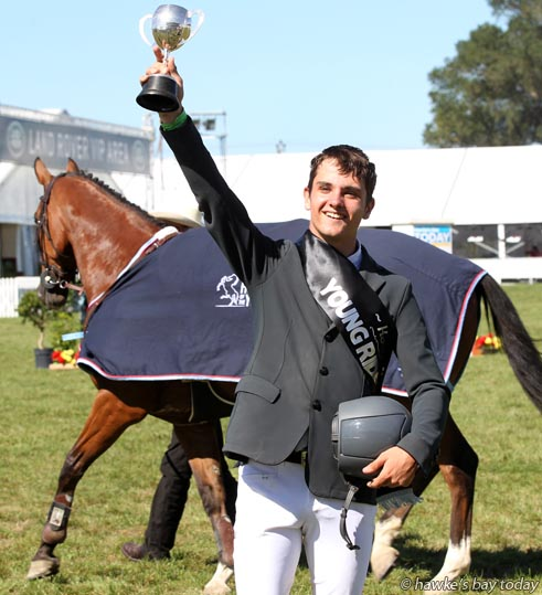 Keean Cooper on Amarula MVNZ, winner of the Dunstan Horse Feeds Young Rider of the Year, in the Land Rover Premier Arena, Horse of the Year, at the Hawke's Bay Showgrounds, Hastings. photograph