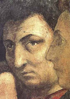 Masaccio Detail of St. Peter Raising the Son of Theophilus and St. Peter Enthroned as First Bishop of Antioch, Brancacci Chapel, S. Maria del Carmine, Florence