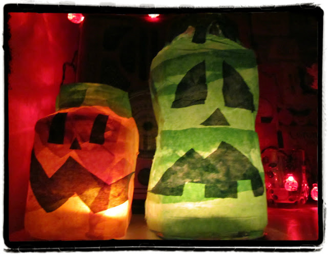 Homemade Halloween jar lanterns