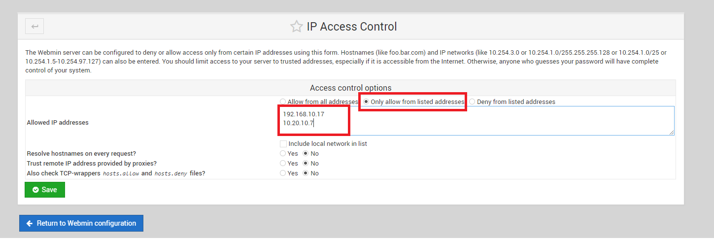 CWP: How to Secure Webmin using Webmin GUI on CentOS 7