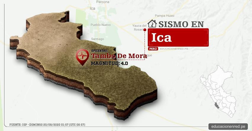 Temblor en Ica de Magnitud 4.0 (Hoy Domingo 20 Septiembre 2020) Sismo - Epicentro - Tambo De Mora - Chincha - IGP - www.igp.gob.pe