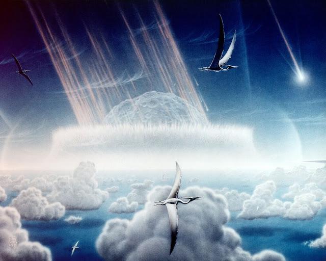 Ilustração artística da queda do asteroide que poderia ter causado a extinção dos dinossauros no fim do período Cretáceo - Donald E Davis