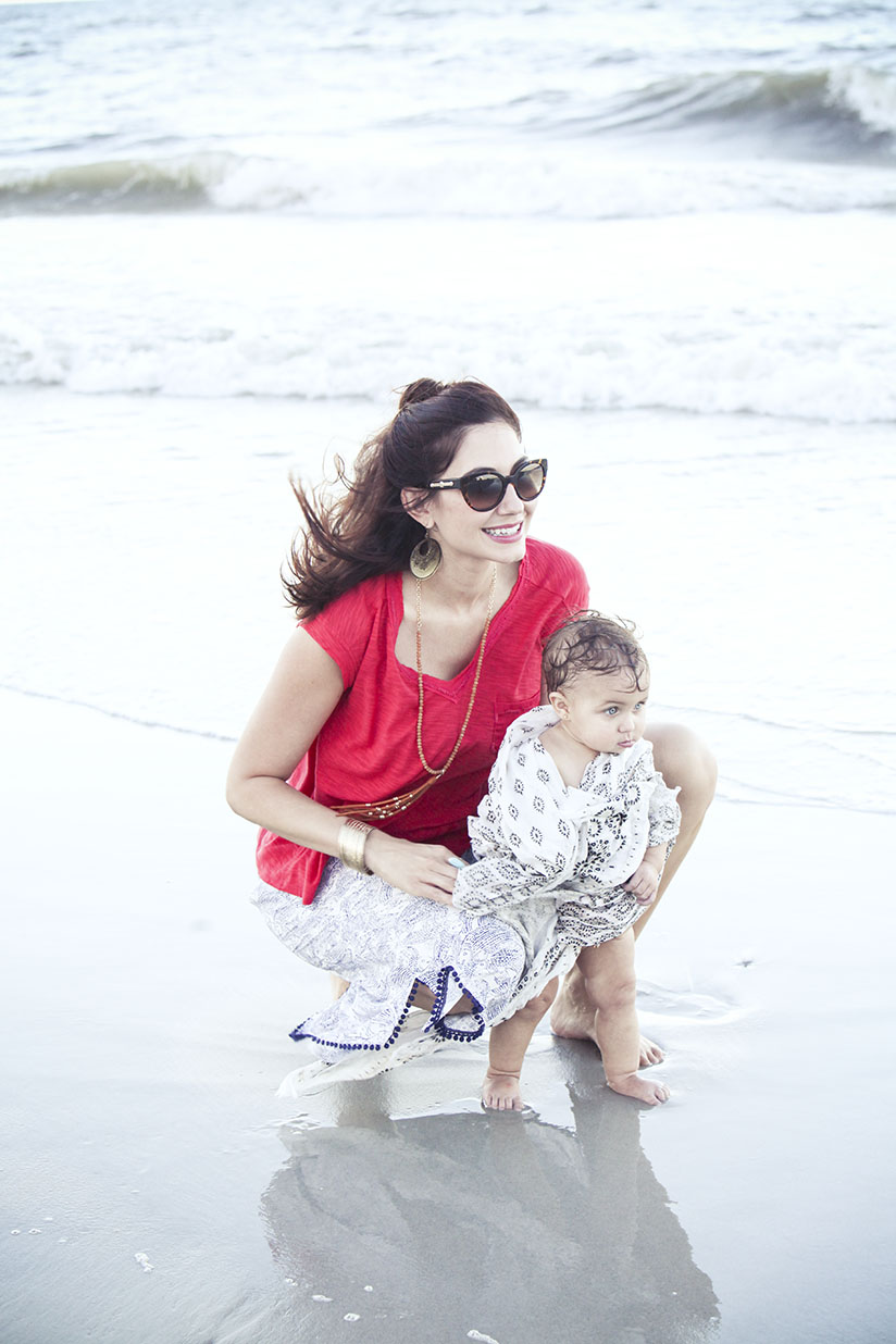 Amy West and daughter at the beach